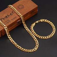 kol düğmeleri toptan satış-Klasikleri Moda Gerçek 24 K Sarı Altın GF Mens Kadın Kolye Bilezik Takı Setleri Katı Curb Zinciri Aşınma dayanıklı