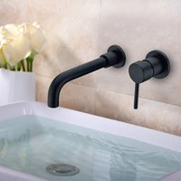 Wholesale Wall Mounted Cold Water Taps - Matte Black Brass Wall Mounted Basin Faucet Single Handle Mixer Tap Hot & Cold Water