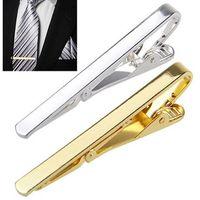 Wholesale Suit Business Wholesale - Mix color Men Tie Clip Pins Bars Golden Slim Glassy Necktie Business Suits Accessories Gold silver Bronze TI02