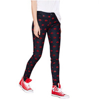 pés fêmeas coreanos venda por atacado-Atacado- 2016 nova primavera versão coreana lábios vermelhos patchwork feminino jeans pés lápis calças mulheres jeans skinny calças frete grátis Y49D