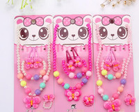Wholesale Hair Bag Clip - Children Kid Girl Cute Pearl Beaded Necklace Bracelet Hair Clip Ring Set Christmas Birthday Party bag filler Jewelry Gift sets favor pink