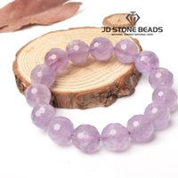 Wholesale Light Amethyst Stones - JD stone beads natural facted light amethyst bracelet hand chain with positive energy wholesale free shipping