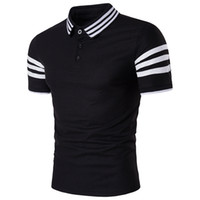 Wholesale Cheap Fitted Shirts Men - Summer New Style Casual Fashion Otdoor Elegant Cheap Slim Fit Y-Neck Nylon Striped 3 Colors Plus Size Short Sleeve Golf Men's Polo Shirts