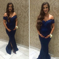 b47eeea9ea5 2018 Navy Blue Lace Prom Pregnant Dresses India Woman Off Shoulder Mermaid  Split Front Side Applique Plus Size Maternity Evening Party Gowns