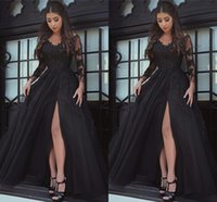 Wholesale Lavender Satin Robes - Black Amazing V-neck Long Sleeve Prom Dresses Appliques Tulle Long Formal Prom Gowns Robe De Bal Party Evening Dresses