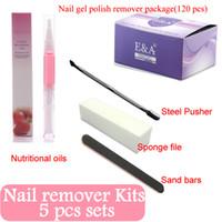 Wholesale Sponge Nail Remover - Wholesale- 120 Pcs Nail Art UV Gel Polish Lacquer Easy Remover Kits Foil Wraps Magic Care Tools Pusher Oil Sponge file sand bar Package