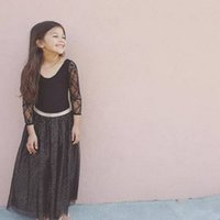 Wholesale Dress Long Back Leopard - European and American style children lace long - sleeved girl black princess foreign trade dress back dress