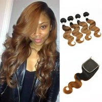 Wholesale Closure Colored - Colored Peruvian Virgin Hair T 1B 30 Dark Root Auburn Hair Extensions Body Wave Ombre Human Hair Weave 4 Bundles with Lace Closure