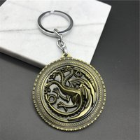 Wholesale Games Cross - Fashion 3D Pattern Design Creative Key Chain Game of Thrones Mother of Dragons Key Ring Fine Metal Key Chain