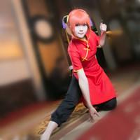 Wholesale kagura cosplay online - Kagura cosplay costumes red cheongsam black trousers Japanese anime Gintama clothing Masquerade Mardi Gras Carnival costumes