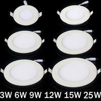 Wholesale Off Grid Light - Wholesale- Ultra thin led down light lamp 3w 4w 6w 9w 12w 15w 25w led ceiling recessed grid downlight slim round panel light free shipping