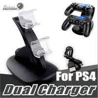 Wholesale Usb Docking Stand - Dual chargers for ps4 xbox one wireless controller 2 usb LED Station charging dock mount stand holder for PS4 gamepad playstation with box