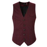 Wholesale Chaleco Slim Fit - Wholesale- 2016 famous brand striped waistcoat men good quality slim fit dress vests for men casual sleeveless chaleco hombre