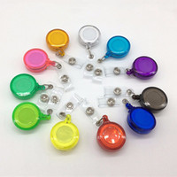 14 Colors ID Holder Name Tag Card Key Badge Reels Round Solid Plastic Clip-On Retractable Pull Reel Wholesale Office Supplies