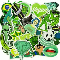 Wholesale Vinyl Green - New 50 PCS Fashion Brand Green Stickers Not RepeatVinyl Decal For Handbag Car Styling Luggage Decoration Laptop DIY Sticker