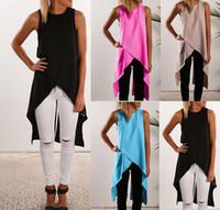 Wholesale Irregular Vest Dress - 2017 latest fashion women dresses Casual shirt new vest cross irregular chiffon shirt shirt with size size S-XL. Free shipping