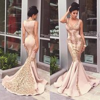 Wholesale Gorgeous Elegant Evening Long Dresses - 2016 Gorgeous Mermaid Long Evening Dresses Gold Lace Applique Prom Dresses Saudi Arabic Elegant Style Party Gowns
