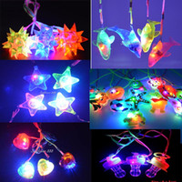 Wholesale Led Christmas Lights Necklace - Wholesale-Spiky Ball Cartoon Dophin Star Heart Light Up LED Flashing Necklace Pendants Rave Toys Party Christmas New Year Gift