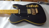 Wholesale electric guitar matte black for sale - Group buy Custom Matte Black Telecaster Electric Guitar Yellow Binding Floyd Rose Tremolo Bridge Vintage Yellow Fingerboard Dot Inlay Black Pickguard