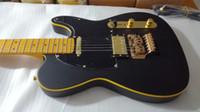 guitarra amarilla negra personalizada al por mayor-Custom Matte Black Telecaster Guitarra Eléctrica Binding amarillo Floyd Rose Tremolo Bridge Vintage Yellow Diapasón Dot Inlay Negro Pickguard