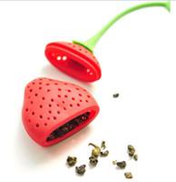 infusor colador bola de té al por mayor-Tea Leaf Colador Reutilizable Rojo Encantador Bolso de Té de Fresa de Silicona Bola Stick Loose Herbal Especias Filtro de Infusión Herramienta de Té Novedad G710