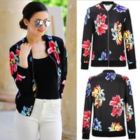 Wholesale Long Black Cardigan Ladies - 2017 Women Autumn sweatshirt Fashion Floral Zipper ladies Short Flower Casual Jackets Black long sleeves baseball Coats girls