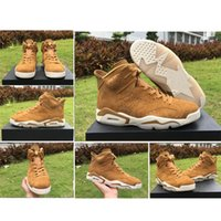 Wholesale Sail Shoes Men - 2017 Retro 6 Golden Harvest Men Basketball Shoes High Quality Sail Golden Harvest Wheat 384664-705 6s VI Ourdoor Sneakers With Box