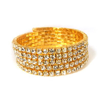Wholesale Chain Clasp For Sale - 5 Rows Spiral Rhinestone Crystal Stretch Bangle Bracelet Wedding Bridal Jewelry Accessories for Women Hot Sale Bracelets & Bangles Upper Arm