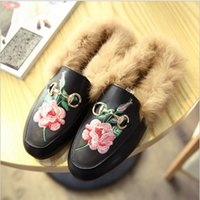 Hot Selling Outono Inverno Coelho Fur Leather Flat Redondo Toe Half Slipper Moda Lazy Plush Shoes Mulheres Shallow Metal Buckle