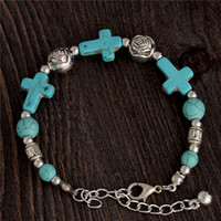 Wholesale Handmade Tibetan Beads Wholesale - Wholesale-Gypsy Tibetan Silver TURQUOISE Stone Cross Beads Handmade Vintage Bracelet Bangle Jewelry Cross Bracelet for Women Jewellery