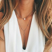 Wholesale Gold Chain Short Choker Necklace - Bohemia Gold Plated Rhinestone Tassel Choker Necklaces Chocker Collar Bijoux Multilayers Short Necklace Body Chain Gifts