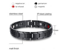 Wholesale Titanium Bracelets For Health - Fashion Health Energy Bracelet Bangle Men Black Jewelry Titanium Stainless Steel Bio Magnetic Bracelet For Man free by dhl