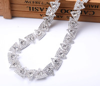Wholesale Decoration Diamond For Dress - Free shipping 1yards triangle Rhinestones Trim Cup silver Chain Bridal Dress Applique Glass Stone Decoration for Belt Sash Bags