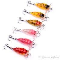"Wholesale Topwater Lure Baits - 12PC Cicada Bass Baits 4cm-1.57"" 4.15g-0.15oz Crank Fishing Lure Japan Topwater 3D Eyes Hard Swim Bait 6 Colors Lifelike Wobbler"