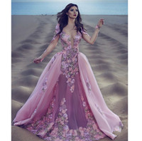 Wholesale Mermaid Tulle Bottom Dress - Designer Pink With Detachable Train Mermaid Prom Dresses Scoop Neck Long Sleeve Appliques Tulle Evening Party Gown Illusion Bottom Dress