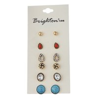 Wholesale Crystal Stud Earrings Bulk - 6 Pair  Lot New Fashion Classic Style Bead Crystal Stud Earrings Set For Women Fine Jewelry Bulk Wholesale Price