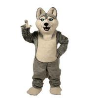 personagem traje cães venda por atacado-2018 Fantasia Cinza Cão Cão Husky Com A Aparência Do Lobo Mascote Costume Mascotte Adulto Personagem de Banda Desenhada Do Partido Frete Grátis