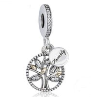 Wholesale pandora lucky charm - 925 Sterling Silver Family Lucky Wish Tree Charm Love Bead Fit for European Pandora charm Bracelet