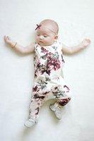 Wholesale flower news - 2017 News whosale baby girl summer ROSE flower print rompers infant toddlers suspender rompers newborn kids soft cotton bodysuit