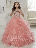 organza color chocolate al por mayor-Nuevos rebordear niñas desfile vestidos volantes 2018 vestido de organza rosa vestido de bola vestidos de las muchachas de flores para la boda