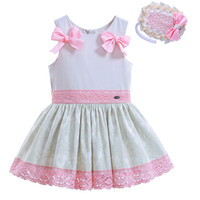 Wholesale G Wholesale Kids Clothing - Pettigirl Summer Girls Dress With Pink Bow Jacquard Lace Hem Baby Dresses With Headwear Boutique Kids Clothing G-DMGD906-780