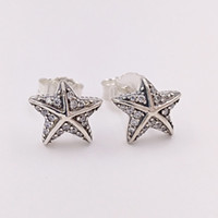 Wholesale starfish 925 silver jewelry - Authentic 925 Sterling Silver Studs Tropical Starfish Stud Earrings Fits European Pandora Style Studs Jewelry 290748CZ