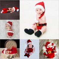 Wholesale Handmade Diapers - Baby Christmas Sleeping Bags Newborn Handmade Wraps Toddler Knitted Swaddling Blankets Kids Xmas Hat Diaper Covers Photography Clothes B2941