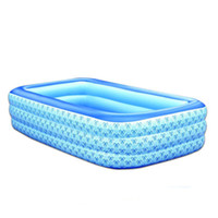 Wholesale family swimming pools - Wholesale- New 3-6 years Old Children Piscine Family Rectangle PVC Inflatable Pools Piscina Baby Inflatable Swimming Pool Size 255*165*60cm