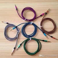 Wholesale Cheapest Cable Box - Cheapest 3.5mm Aux connector braid Audio Stereo cable for iphone samsung smartphones 3FT colorful