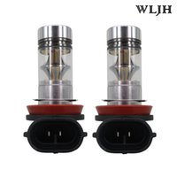 Wholesale Daytime Running Led Ford Focus - WLJH 100W 1000 Lumen H8 Car Led Lamp Lens Fog Daytime Led Running Lights Driving DRL Light Bulb 12v 24v White