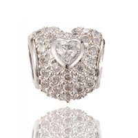 Wholesale Bulk Jewelry For Sale - Bulk Sale Heart Shape Micro Pave Beads with Clear CZ Cubic Zirconia for DIY Jewelry Supplies ICPD030 Size 10.5*10MM