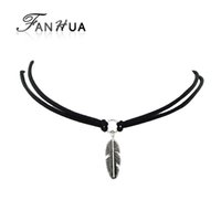 Wholesale black feather choker - Wholesale- Velvet Choker Black Brown White Leather Choker Necklace Antique Silver Color Feather Shape Charm Multilayer Chain Necklace