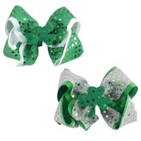 Wholesale Sequin Bows For Hair Accessories - 20Pcs lot Two Layered Girls Hair Bows Solid Ribbon Shamrock Stacked Bow With Clips Sequin Organza Hairbow For Baby Children Hair Accessories