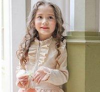 Wholesale Children Elegant Coat - Girls fashion outwear 2017 new autumn kids cotton falbala long sleeve ruffle hem coral zipper coat children sweet elegant clothing C0547